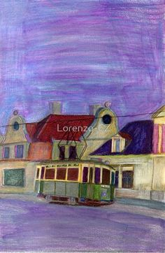 'Historical tram in Jablonec' by Lorenzo-CZ Canvas Prints, Framed Prints, Art Prints, Art Boards, Colored Pencils, Cities, Art Ideas, Iphone Cases, Wall Art