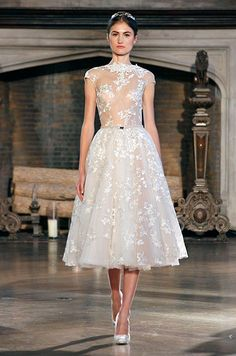 Already bought your wedding dress? Look away! These Inbal Dror wedding dresses from 2015 bridal collection are too beautiful for words. Take a look and happy pinning! Sheer Wedding Dress, Tea Length Wedding Dress, 2015 Wedding Dresses, Bridal Dresses, Wedding Gowns, Reception Dresses, Pretty Dresses, Beautiful Dresses, Mod Wedding