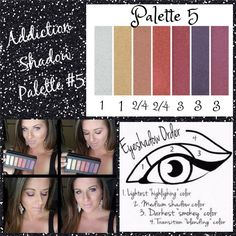 Palette #5 with Eyeshadow Order Guide! Take it from serene to extreme with seven crease-resistant, fade-resistant, long-wearing, buildable colors! Now available in 5 amazing color palettes! #Addiction12345 #ClickImageToShop #Questions #EmailMe sarahandbrianyounique@gmail.com or comment below