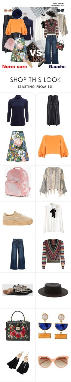 """Norm core vs gauche, what to choose for a weekend walk"" by asiasus on Polyvore featuring мода, White + Warren, Studio 8, Marni, TIBI, Boohoo, Ulla Johnson, Puma, M.i.h Jeans и Missoni"