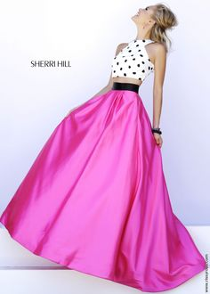 White and Black Polkadot Crop Top and Fuchsia Pink Ball Gown Skirt - Two Piece Style Sherri Hill 32210 - New 2015 Dress - RissyRoos.com