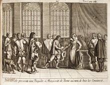 Hendrik van Brederode biedt Margaretha van Parma het Smeekschrift der Edelen aan. Het Smeekschrift der Edelen was in de Nederlanden tijdens het voorspel van Tachtigjarige Oorlog, een verzoekschrift dat ongeveer 200 edelen, verenigd in het Eedverbond der Edelen, op 5 april 1566 aanboden aan de landvoogdes Margaretha van Parma. Het smeekschrift veroordeelde de Inquisitie in felle bewoordingen en dreigde nauwelijks verholen met gewapende opstand, als er geen einde zou komen aan de vervolging.