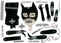 Artist in LA LA Land Illustration  Design: Paper Doll Bat Man  Cat Woman Gang by Maria Raymondsdotter