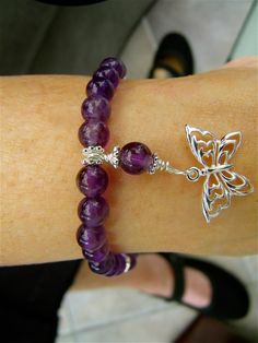 Butterfly and Amethyst RA/LUPUS/Fibromyalgia Awareness Bracelet | Custom Made Jewelry by Stones in Harmony