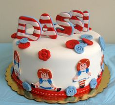 Raggedy Ann cake for my granddaughter Cake Decorating Tips, Cookie Decorating, Fondant Cakes, Cupcake Cakes, Character Cakes, Raggedy Ann And Andy, Fancy Nancy, Buttercream Icing, Party Cakes