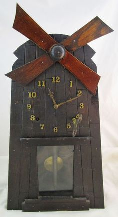 Antique Gilbert Eight day Windmill clock Arts and Crafts/ Mission AS-IS  #ArtsCraftsMissionStyle #Gilbert #antiqueclock