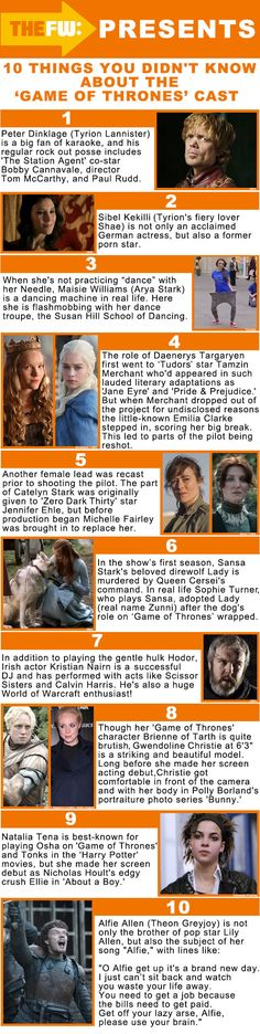Game of Thrones Cast. I knew 4, 5, 6 & 10! That one is so cool about Tonks being in About A Boy, I totally remember that now! Why was she so bad at being Tonks? She kicks ass in GOT!