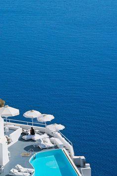 Kirini restaurant and the main pool perch on the cliffside, 300m above the water. Katikies Hotel (Santorini, Greece) - Jetsetter