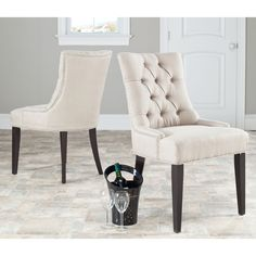 Safavieh En Vogue Dining Abby Grey Linen Nailhead Dining Chairs