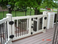 Custom Vinyl Railing Gates Our custom vinyl gate program is very simple – Select your color Select your spindle Porch Gate, Deck Gate, Diy Porch, Front Porch, Vinyl Deck Railing, Deck Railings, Railing Ideas, Pergola Ideas, Porch Ideas
