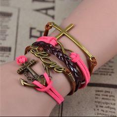 Leather pink/brown Anchor braselet 2016 New Womens Fashion Vintage Anchors Rudder Rectangle Leather Bracelet Multilayer Charm Bracelets Best  Gift Jewelry Bracelets