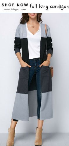 USD35.01 Double Slit Color Block Long Sleeve Cardigan  liligal  cardigan  Fashion Outfits 9f841f150