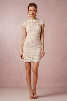 we love this short lace reception dress from @bhldn | see more #wedding reception dresses here: http://www.mywedding.com/articles/wedding-reception-dresses/