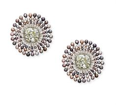 A PAIR OF ELEGANT COLOURED DIAMOND, DIAMOND AND COLOURED PEARL EAR CLIPS, BY BHAGAT