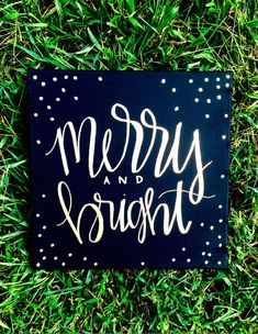Merry and bright- black and gold 12x12 hand lettered canvas, Christmas decor, holiday decor, Christmas decorations, Christmas quote