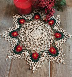 Items similar to Crochet Doily; Christmas Home Decor; Handmade Doily on Etsy Christmas Poinsettia, Christmas Home, Christmas Wreaths, Christmas Crochet Patterns, Crochet Blanket Patterns, Beautiful Crochet, Crochet Doilies, Crochet Earrings, Knitting