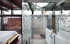 Bathroom - patterned privacy film on glass walls - Steendyk - tree house, brisbane.