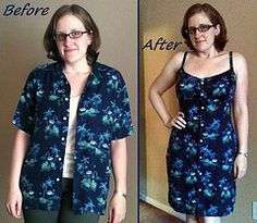 Flamingo Dress Before & After - Not only refashioning thrift store finds but also altering clothes that are now too big.