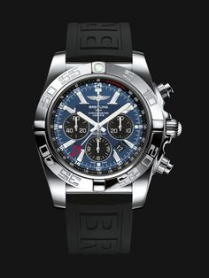 Chronomat GMT traveler's watch by Breitling - Steel case, blackeye gray dial, black Ocean Racer strap. Breitling Superocean Heritage, Breitling Chronomat, Breitling Watches, Best Watches For Men, Cool Watches, Fine Watches, Wrist Watches, Men's Watches, Casual Watches
