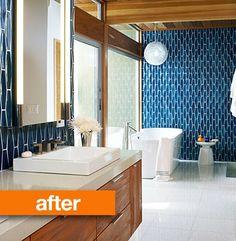 MAIN BATHROOM:  mid-century bathroom makeover. Love the geometric tiles!