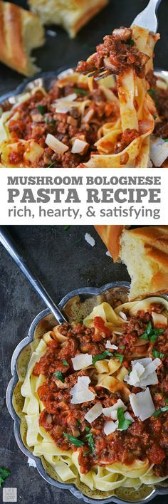 Mushroom Bolognese Pasta Recipe | by Life Tastes Good has a rich, thick, satisfying sauce atop hearty tagliatelle noodles. This recipe is a family style Italian meal that is a fairly easy recipe and fills your home with an irresistible aroma that will bring everyone to the dinner table! #LTGrecipes