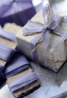 Bark paper tied with a lavender bow