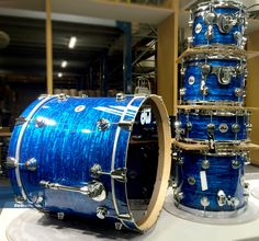 Collector's Series kit with Blue Strata FinishPly. #dwdrums #thedrummerschoice