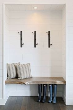 If you are lacking a drop zone or mudroom, turn a coat closet into this stunning modern mudroom with live edge wood floating bench and white shiplap walls. Closet Bench, Entry Closet, Front Closet, Mudroom Cubbies, Closet Mudroom, Bench Mudroom, Entry Bench, Wall Bench, White Shiplap Wall
