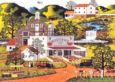 """Budzen's Roadside Food Stand"" by Charles Wysocki - Desk calendar for the week of April 15-21 - Would love to live upstream and up the fall from Budzen's...go there for fresh fruits and vegetables, meats, homemade candles, and more!  The mailboxes lining the foreground are cute and you can just smell the sweet fruit in the warm spring air....the fragrance is inescapable!"