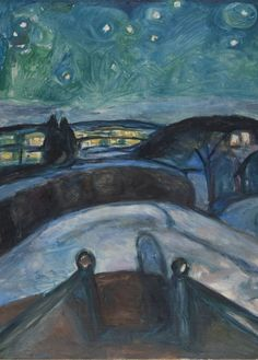EDVARD MUNCH Starry Night, detail 1922-1924 250gsm Gloss Art Card A3 Reproduction Poster: Amazon.co.uk: Kitchen & Home