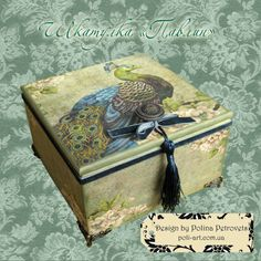 Jewelry Storage Box Peacock Decoupage Box por PolinaPetrovets