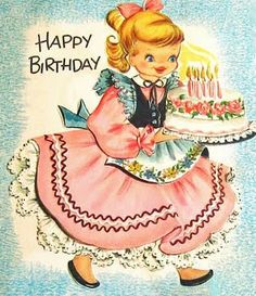 Happy Birthday girl in pink dress with cake & candles