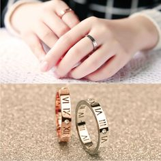 Cheap ring stainless steel, Buy Quality titanium steel directly from China ring stainless Suppliers: Fashion Hollow out Roman numerals Titanium steel zircon rings Rose White gold couples tail ring Stainless steel Roman Numeral Ring, Roman Numerals, Ring Settings Types, Tungsten Mens Rings, Cheap Rings, Couple Rings, Types Of Rings, Cartier Love Bracelet, Band Rings
