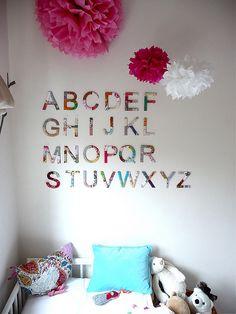 delight upon delight: alphabet wall art Nursery To Toddler Room, Toddler Rooms, Kids Bedroom, Bedroom Ideas, Bedroom Wall, Kids Rooms, Baby Room, Nursery Design, Nursery Decor