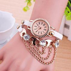 Retro Quarzuhr Armreif Leder Armbanduhr Damenuhr Uhr Kaffeebraun