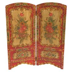 Late 19th century Italian Hand Painted Wood Screen
