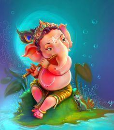 Make this Ganesha Chathurthi 2020 special with rituals and ceremonies. Lord Ganesha is a powerful god that removes Hurdles, grants Wealth, Knowledge & Wisdom. Shri Ganesh, Arte Ganesha, Ganesh Lord, Lord Shiva, Lord Durga, Ganesh Idol, Ganesha Drawing, Lord Ganesha Paintings, Krishna Painting