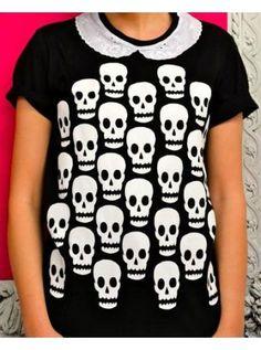 Skull Scatter Collar T-Shirt