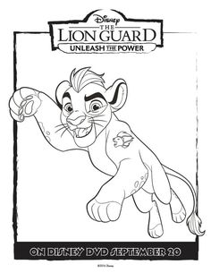 Unleash the Power with these great The Lion Guard coloring pages and activity page. Full size free printable coloring pages for tons of fun and creativity. The Lion Guard Coloring Page Kion