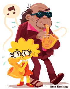 Lisa Simpson and Bleeding Gums Murphy - Erin Hunting art Lisa Simpson, Simpson Tv, Futurama, The Simpsons, Los Simsons, Simpsons Drawings, Hunting Art, Black Art Pictures, Challenges