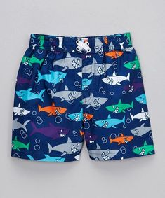 9f4075823f Take a look at this Mick Mack Blue & Seafoam Shark Swim Trunks - Infant,  Toddler & Boys on zulily today!