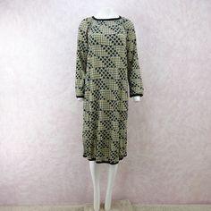 Vintage 80s MISSONI Grid Printed Lightweight Wool Dress