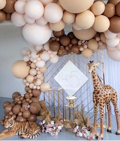 A modern version of a safari party 🎉 🎈 Don't forget to check out our link in bio for prop and party supply purchases 🌍 Safari Birthday Party, Baby Party, Baby Birthday, Baby Shower Parties, Baby Shower Themes, Birthday Parties, Adult Safari Party, Safari Theme, Baby Shower Balloons