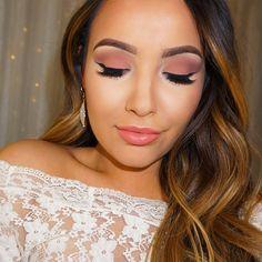Romantic matte eyes And pink peach lips by Amanda Ensing