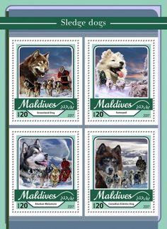 MLD17103a Sledge dogs (Greenland Dog; Samoyed; Alaskan Malamute; Canadian Eskimo Dog) Canadian Eskimo, Greenland Dog, Stamp World, Alaskan Malamute, Samoyed, My Stamp, Maldives, My Dad, Album