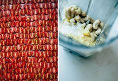 tomatoes pre-roast & cashews pre-parm - The First Mess Vegan Main Course, Cauliflower Pasta, Slow Roasted Tomatoes, Roasted Cashews, Garlic Pasta, Food Stands, Vegan Parmesan, Healthy Food Blogs, Sliced Almonds