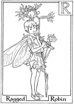Letter R For Ragged Robin Flower Fairy Coloring Page - Alphabet Coloring Pages, Alphabet Flower Fairies On do Coloring Pages Coloring Letters, Alphabet Coloring Pages, Coloring Books, Kids Coloring, Fairy Coloring Pages, Adult Coloring Pages, Hight Light, Cicely Mary Barker, Color Me Beautiful