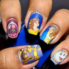 If you're looking for cute Disney nail designs for your next trip to a Disney Park or you just want something heartwarming on your nails, you're at the right place. Disney movies have ability to make us feel happy and full of joy just as Cute Nail Art, Cute Nails, Pretty Nails, Beauty And The Beast Nails, Beauty Nails, Funky Nails, Crazy Nails, Disney Nail Designs, Nail Art Designs