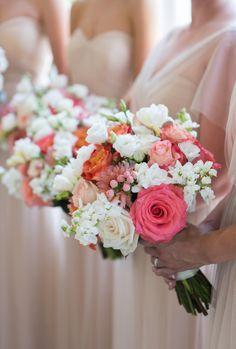 Colorful summer bouquets: http://www.stylemepretty.com/new-york-weddings/long-island/2016/01/21/colorful-shelter-island-summer-wedding/ | Photography: Ryon:Lockhart - http://www.ryonlockhart.com/