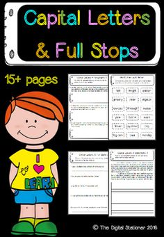 $2- Capital Letters and Full Stop punctuation 15+ worksheets / printables for Literacy